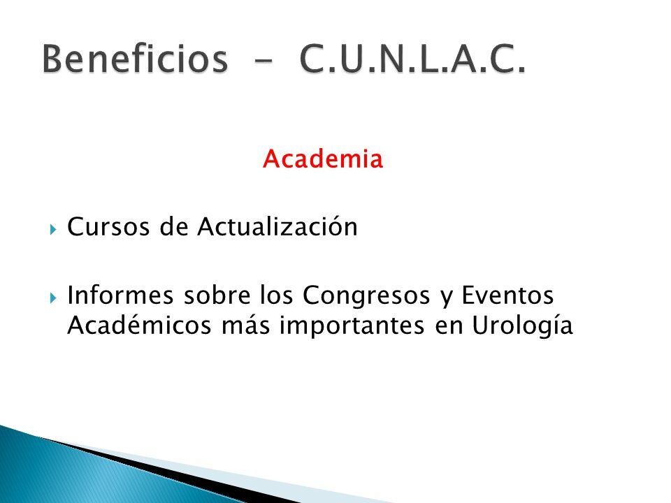 Academia Cursos de Actualización Informes sobre los Congresos y Eventos Académicos más importantes en Urología