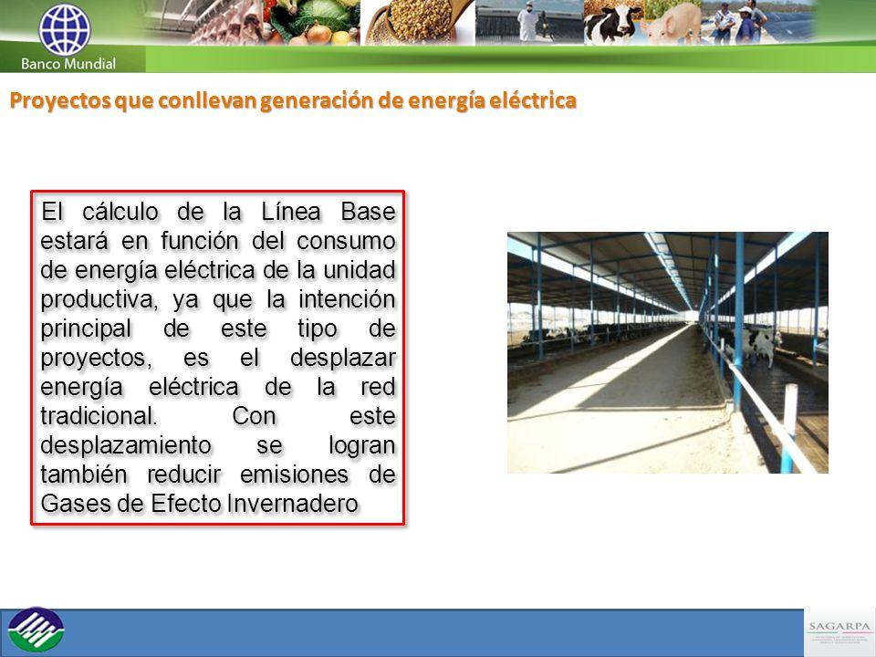 El cálculo de la Línea Base estará en función del consumo de energía eléctrica de la unidad productiva, ya que la intención principal de este tipo de proyectos, es el desplazar energía eléctrica de la red tradicional.
