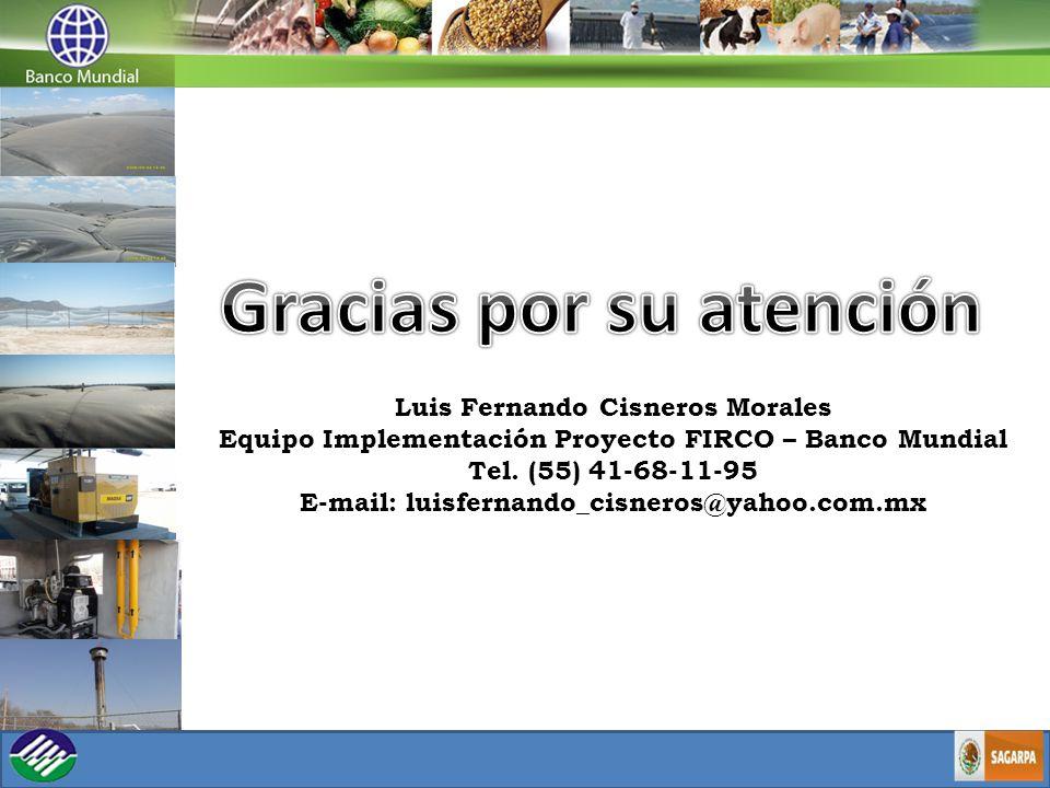 Luis Fernando Cisneros Morales Equipo Implementación Proyecto FIRCO – Banco Mundial Tel.