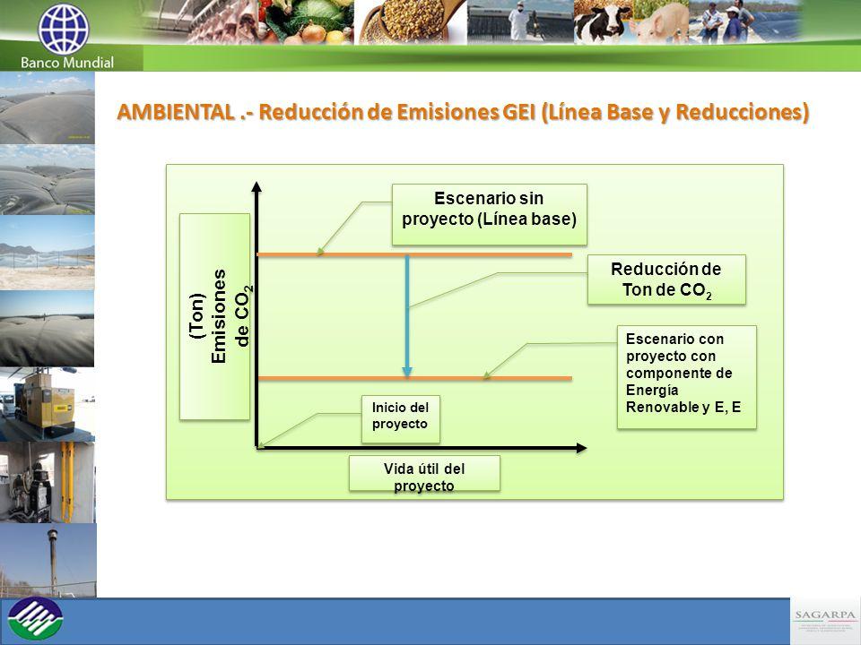 Inicio del proyecto Reducción de Ton de CO 2 Escenario con proyecto con componente de Energía Renovable y E, E Escenario sin proyecto (Línea base) Vida útil del proyecto (Ton) Emisiones de CO 2 (Ton) Emisiones de CO 2 AMBIENTAL.- Reducción de Emisiones GEI (Línea Base y Reducciones)