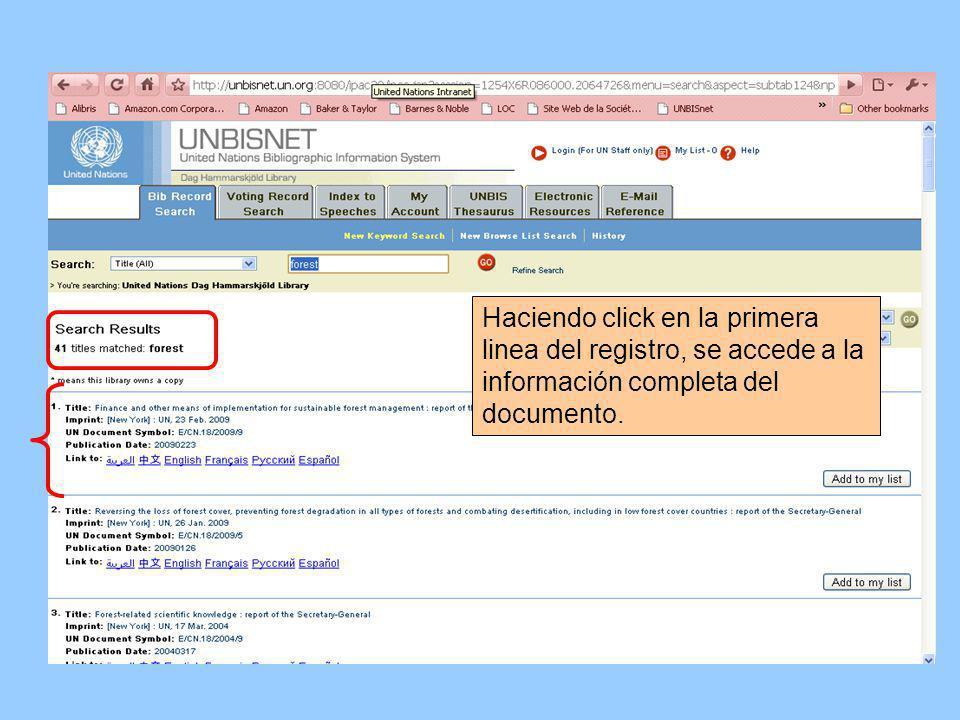 Haciendo click en la primera linea del registro, se accede a la información completa del documento.