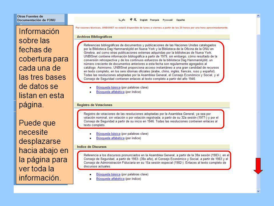 El menú lateral posee links a otras fuentes de información de la ONU.