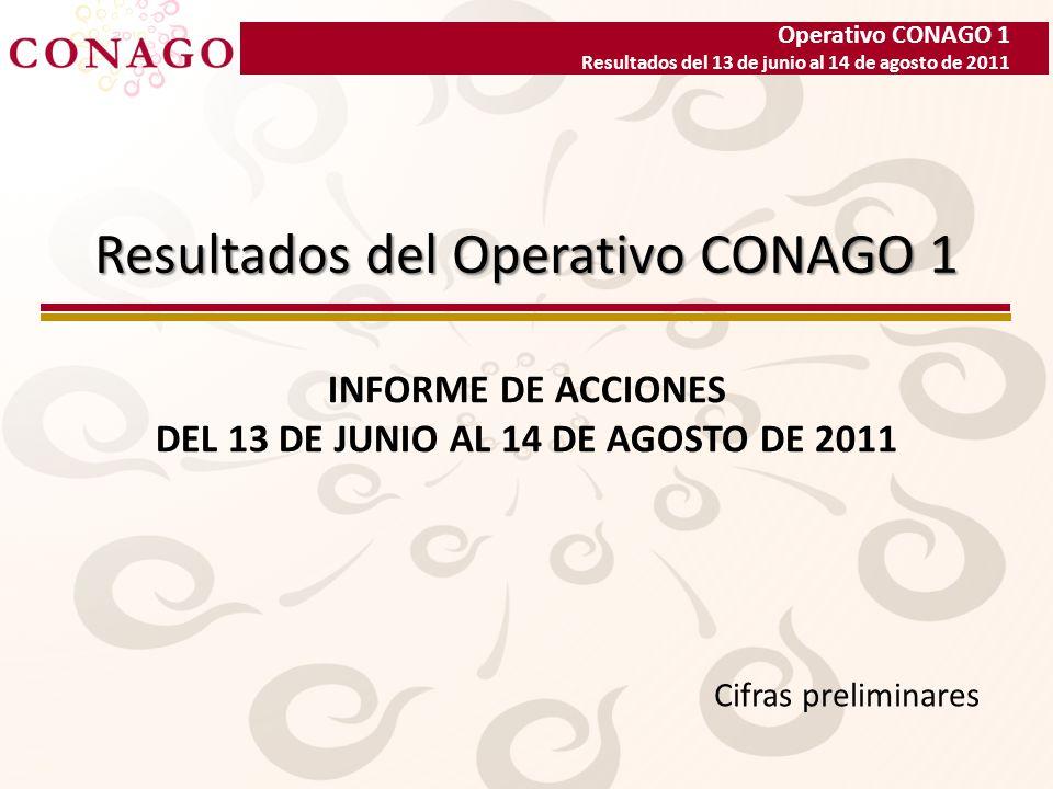 Operativo CONAGO 1 Resultados del 13 de junio al 14 de agosto de 2011 Resultados del Operativo CONAGO 1 INFORME DE ACCIONES DEL 13 DE JUNIO AL 14 DE AGOSTO DE 2011 Cifras preliminares