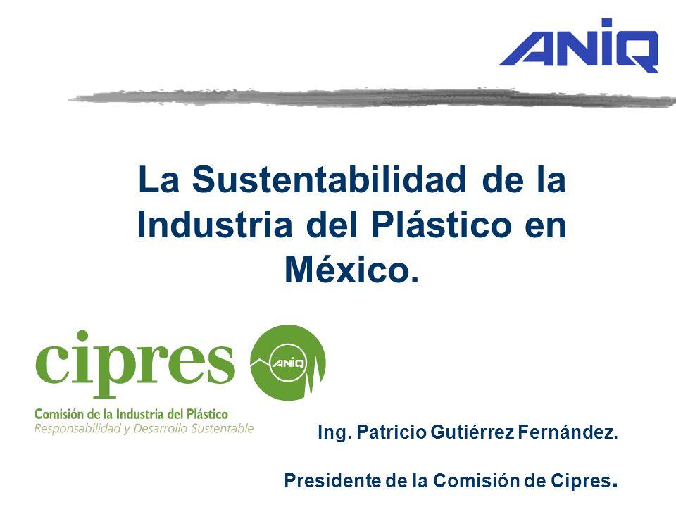 La Sustentabilidad de la Industria del Plástico en México. Ing. Patricio Gutiérrez Fernández. Presidente de la Comisión de Cipres.