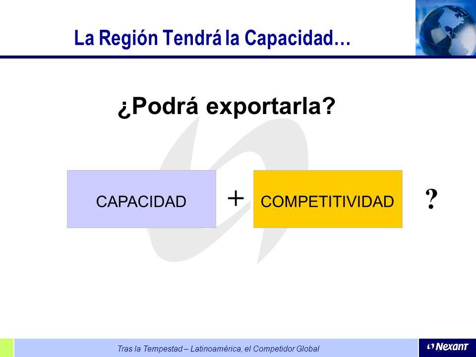 Tras la Tempestad – Latinoamérica, el Competidor Global La Región Tendrá la Capacidad… ¿Podrá exportarla? CAPACIDAD + COMPETITIVIDAD ?