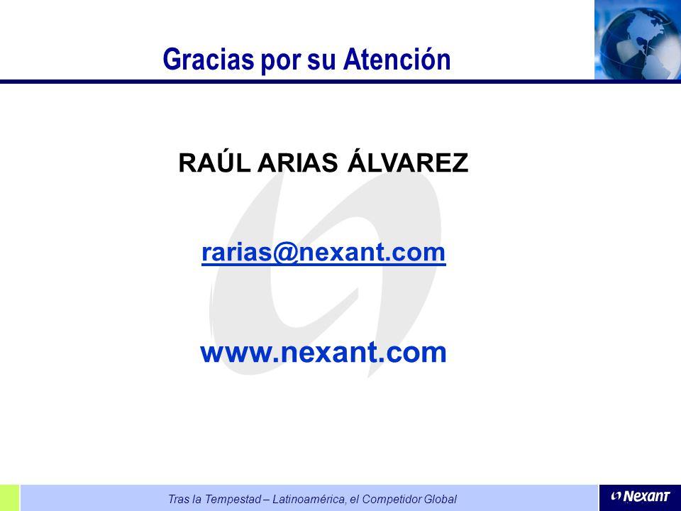 Tras la Tempestad – Latinoamérica, el Competidor Global Gracias por su Atención RAÚL ARIAS ÁLVAREZ rarias@nexant.com www.nexant.com