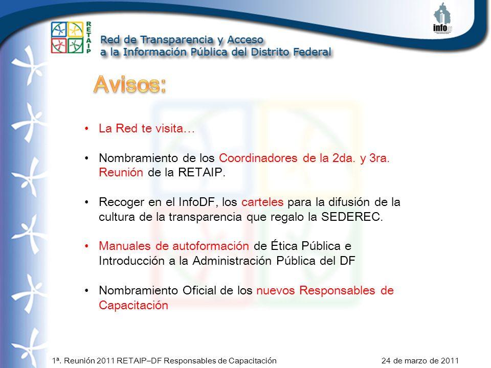 1ª. Reunión 2011 RETAIP–DF Responsables de Capacitación 24 de marzo de 2011 La Red te visita… Nombramiento de los Coordinadores de la 2da. y 3ra. Reun