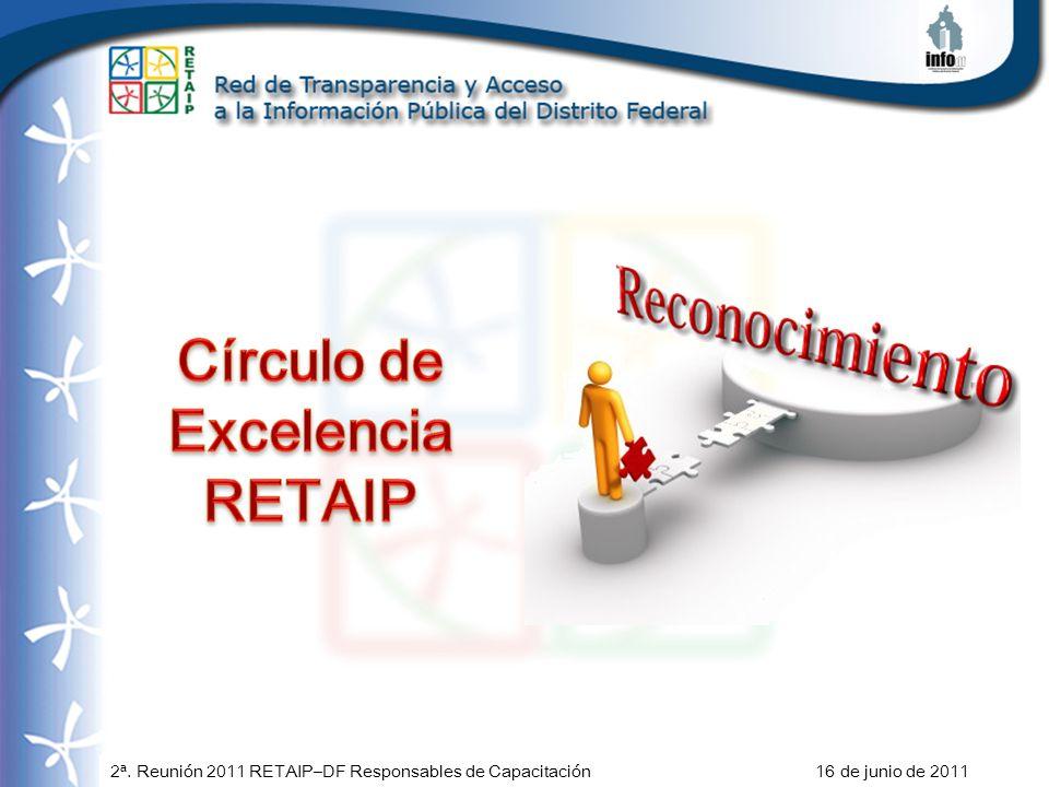 2ª. Reunión 2011 RETAIP–DF Responsables de Capacitación 16 de junio de 2011