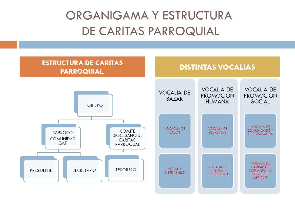 ORGANIGAMA Y ESTRUCTURA DE CARITAS PARROQUIAL OBISPO PARROCO COMUNIDAD CMF PRESIDENTESECRETARIO COMITÉ DIOCESANO DE CARITAS PARROQUAL TESORERO VOCALIA