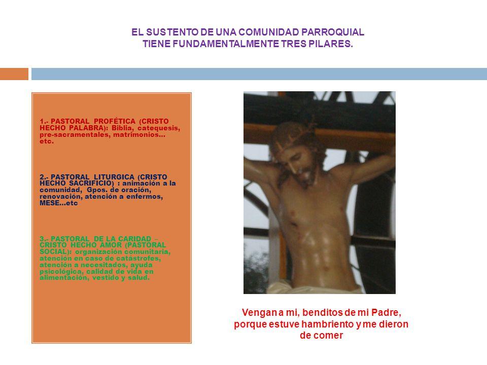 EL SUSTENTO DE UNA COMUNIDAD PARROQUIAL TIENE FUNDAMENTALMENTE TRES PILARES. 1.- PASTORAL PROFÉTICA (CRISTO HECHO PALABRA): Biblia, catequesis, pre-sa