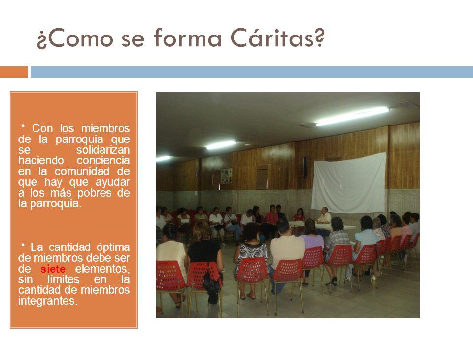¿Como se forma Cáritas? * Con los miembros de la parroquia que se solidarizan haciendo conciencia en la comunidad de que hay que ayudar a los más pobr