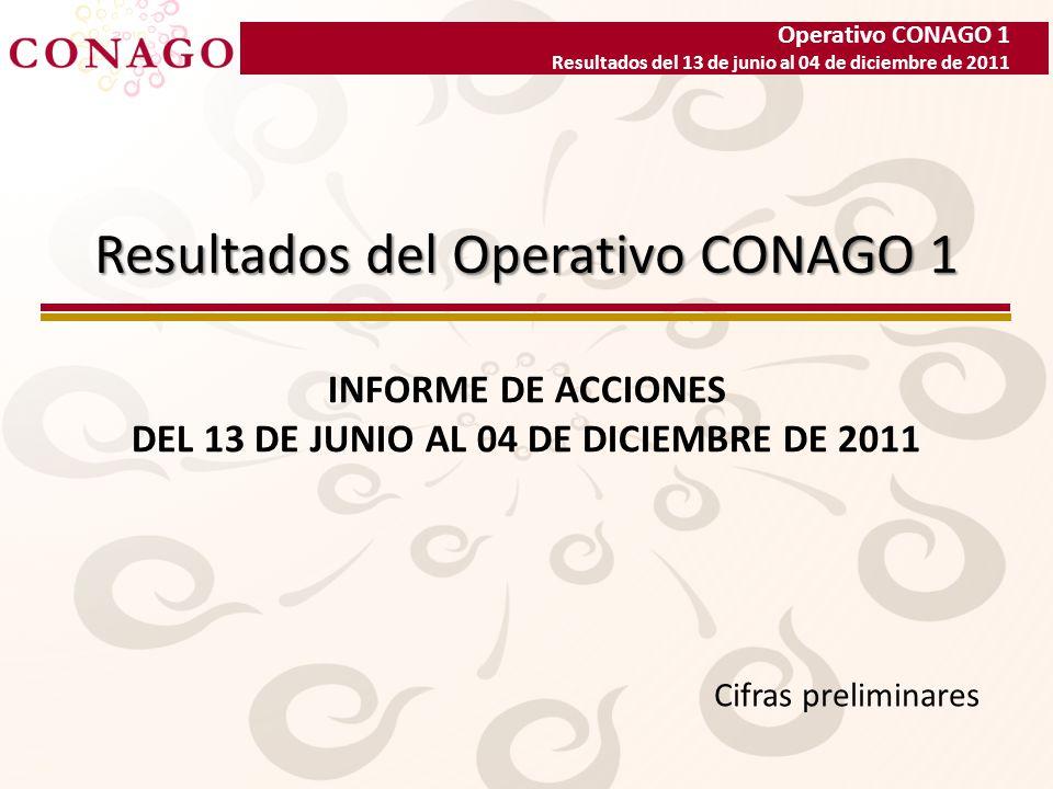 Operativo CONAGO 1 Resultados del 13 de junio al 04 de diciembre de 2011 Resultados del Operativo CONAGO 1 INFORME DE ACCIONES DEL 13 DE JUNIO AL 04 DE DICIEMBRE DE 2011 Cifras preliminares