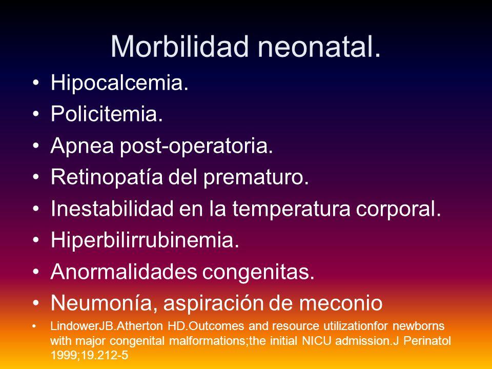 Morbilidad neonatal.Hipocalcemia. Policitemia. Apnea post-operatoria.