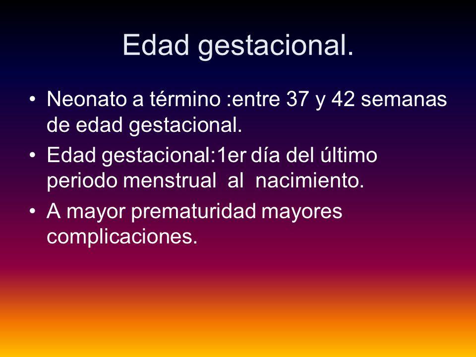 Edad gestacional.Neonato a término :entre 37 y 42 semanas de edad gestacional.