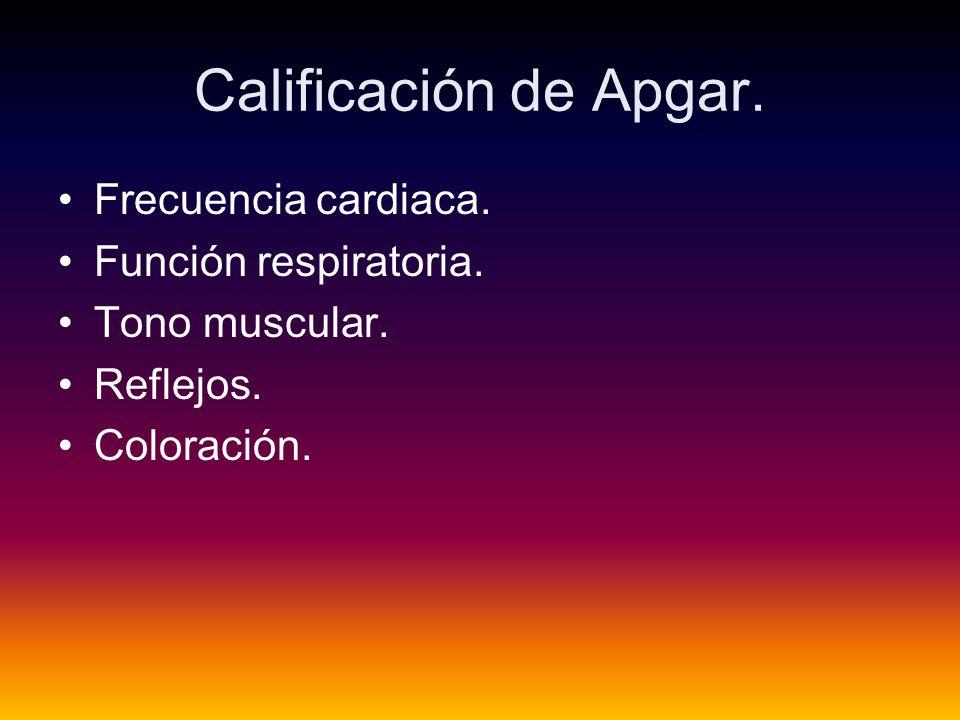 Calificación de Apgar.Frecuencia cardiaca. Función respiratoria.