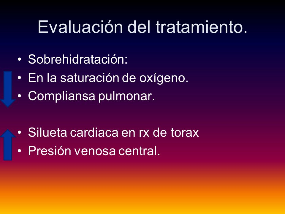 Evaluación del tratamiento.Sobrehidratación: En la saturación de oxígeno.