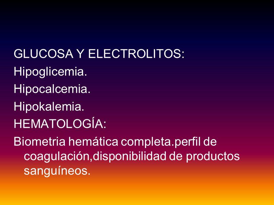 GLUCOSA Y ELECTROLITOS: Hipoglicemia.Hipocalcemia.