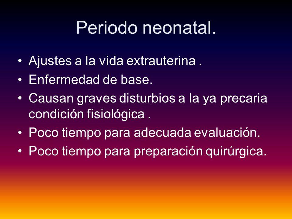 Periodo neonatal.Ajustes a la vida extrauterina. Enfermedad de base.