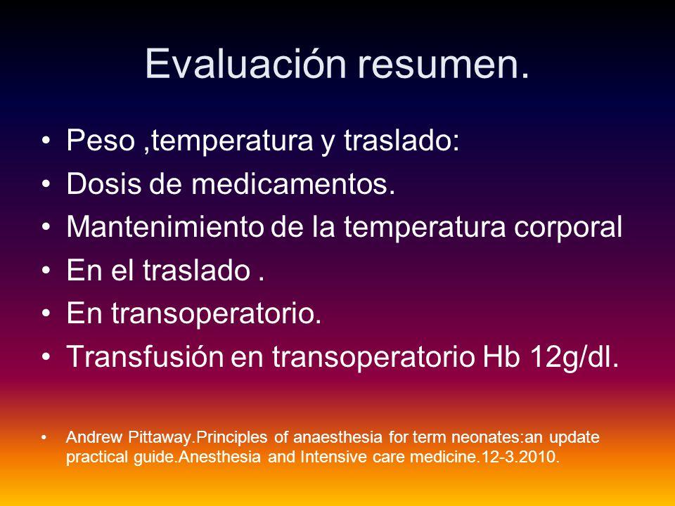 Evaluación resumen.Peso,temperatura y traslado: Dosis de medicamentos.