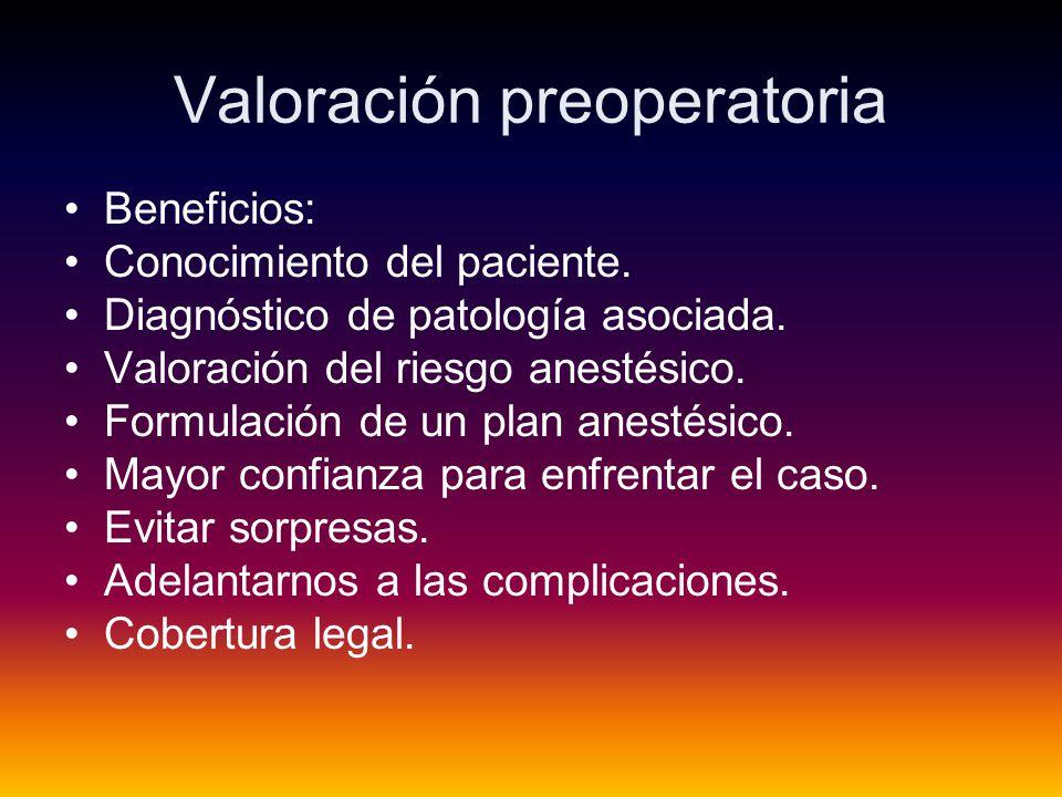 Valoración preoperatoria Beneficios: Conocimiento del paciente.