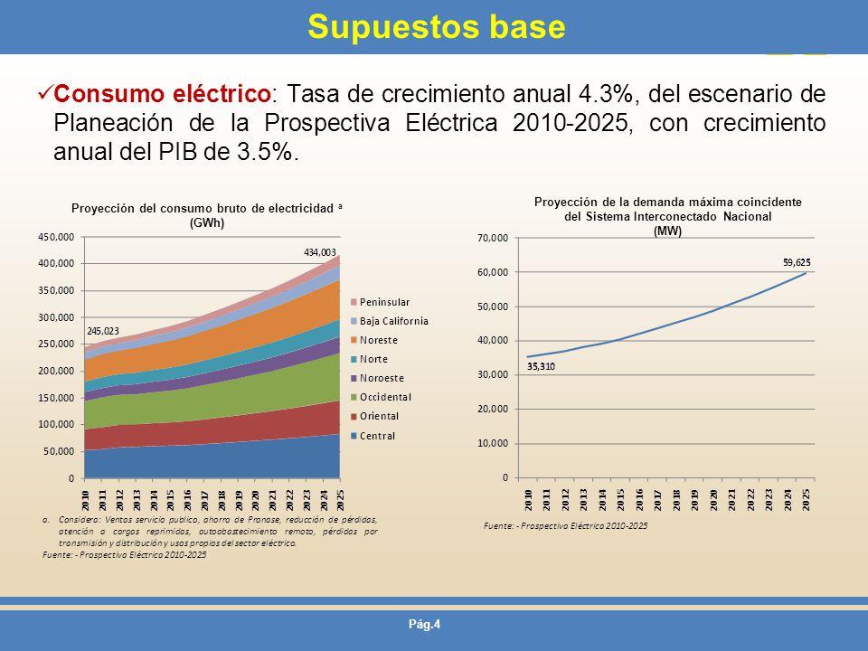 Pág.4 Supuestos base Consumo eléctrico: Tasa de crecimiento anual 4.3%, del escenario de Planeación de la Prospectiva Eléctrica 2010-2025, con crecimi