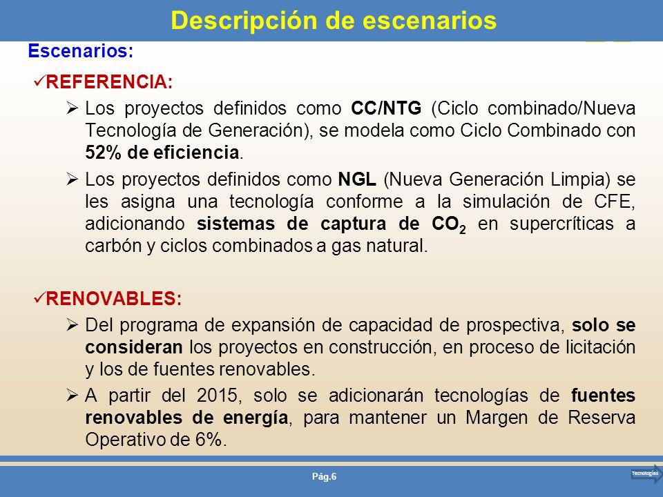 Pág.6 Descripción de escenarios REFERENCIA: Los proyectos definidos como CC/NTG (Ciclo combinado/Nueva Tecnología de Generación), se modela como Ciclo