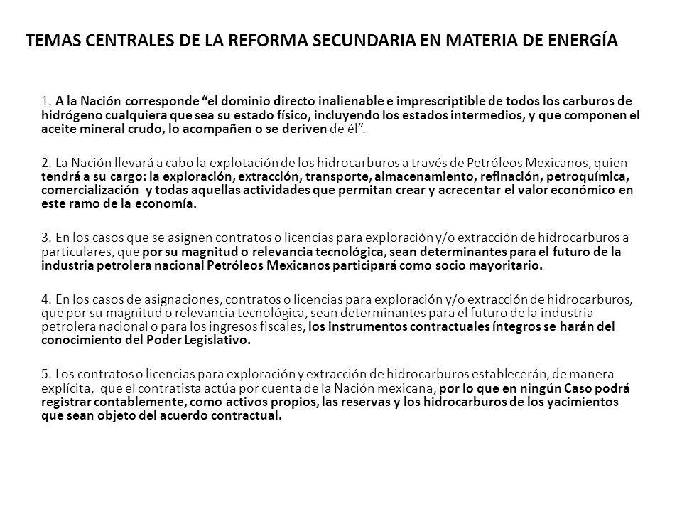 TEMAS CENTRALES DE LA REFORMA SECUNDARIA EN MATERIA DE ENERGÍA 1. A la Nación corresponde el dominio directo inalienable e imprescriptible de todos lo