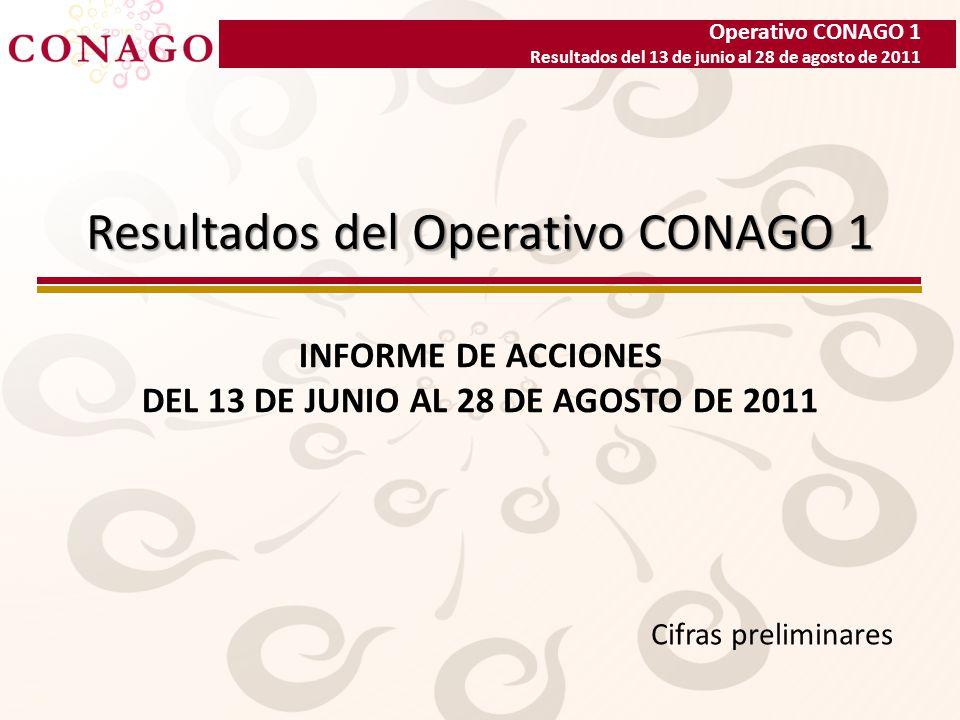 Operativo CONAGO 1 Resultados del 13 de junio al 28 de agosto de 2011 Resultados del Operativo CONAGO 1 INFORME DE ACCIONES DEL 13 DE JUNIO AL 28 DE AGOSTO DE 2011 Cifras preliminares