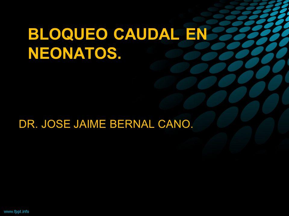 BLOQUEO CAUDAL EN NEONATOS. DR. JOSE JAIME BERNAL CANO.