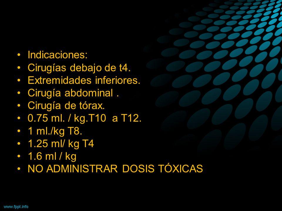 Indicaciones: Cirugías debajo de t4. Extremidades inferiores. Cirugía abdominal. Cirugía de tórax. 0.75 ml. / kg.T10 a T12. 1 ml./kg T8. 1.25 ml/ kg T
