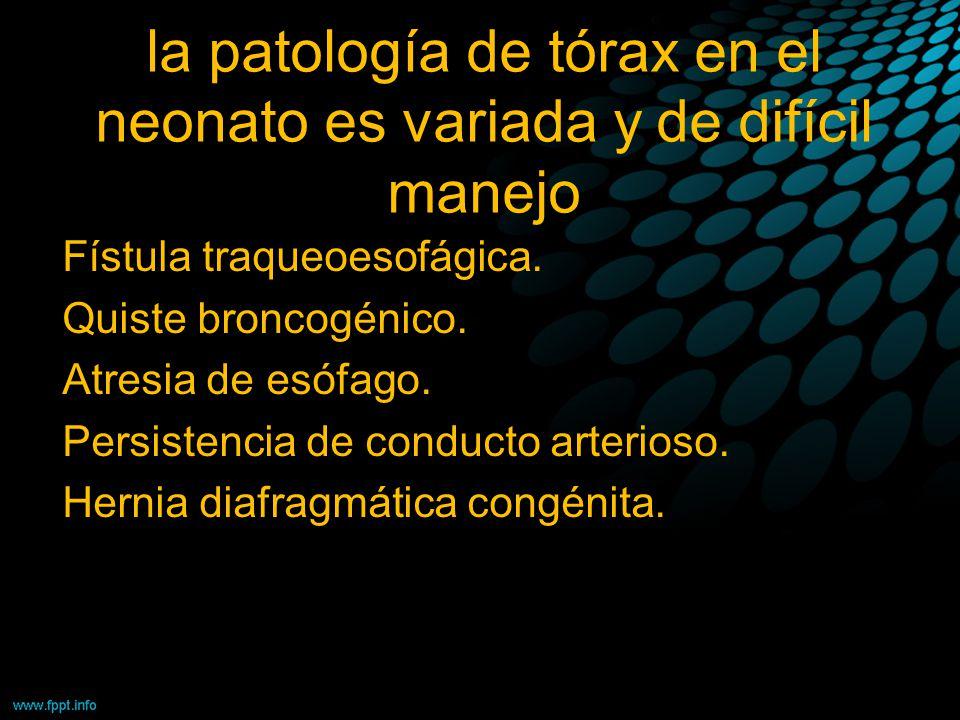 la patología de tórax en el neonato es variada y de difícil manejo Fístula traqueoesofágica. Quiste broncogénico. Atresia de esófago. Persistencia de