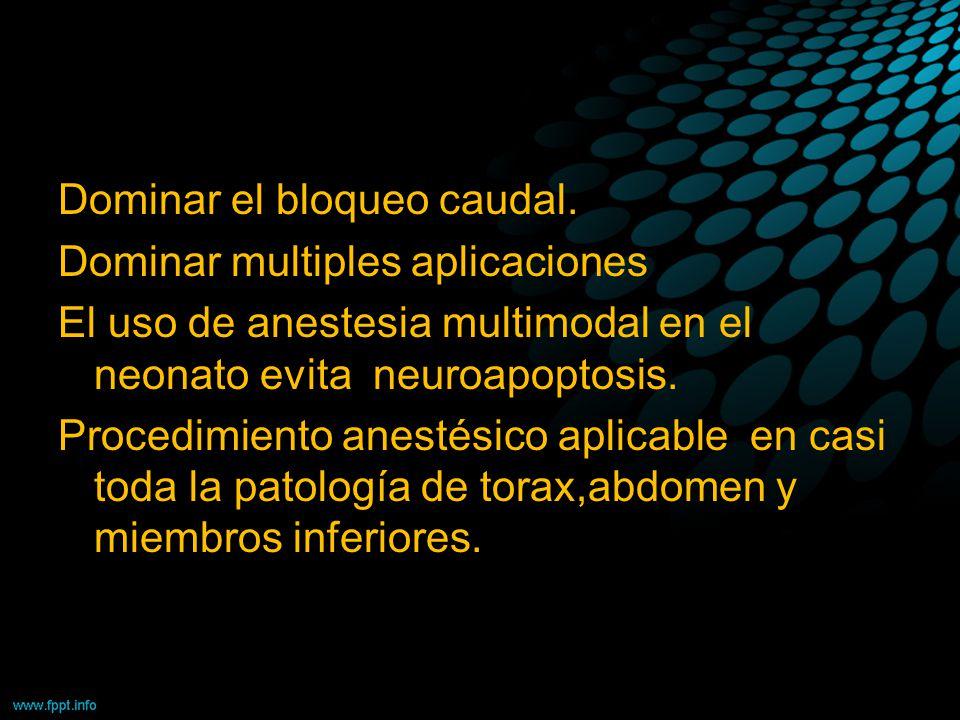 Dominar el bloqueo caudal. Dominar multiples aplicaciones El uso de anestesia multimodal en el neonato evita neuroapoptosis. Procedimiento anestésico