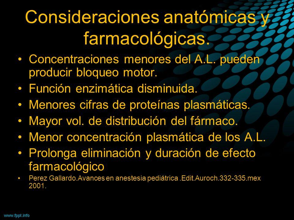 Consideraciones anatómicas y farmacológicas. Concentraciones menores del A.L. pueden producir bloqueo motor. Función enzimática disminuida. Menores ci