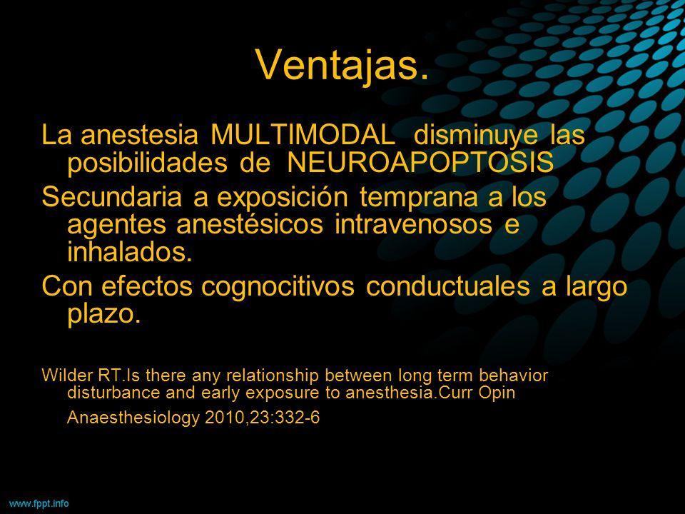 Ventajas. La anestesia MULTIMODAL disminuye las posibilidades de NEUROAPOPTOSIS Secundaria a exposición temprana a los agentes anestésicos intravenoso