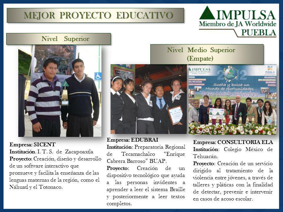 MEJOR PROYECTO EDUCATIVO Empresa: SICENT Institución. I. T. S. de Zacapoaxtla Proyecto: Creación, diseño y desarrollo de un software interactivo que p