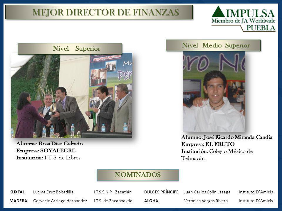 MEJOR DIRECTOR DE FINANZAS Alumna: Rosa Díaz Galindo Empresa: SOYALEGRE Institución: I.T.S. de Libres Alumno: José Ricardo Miranda Candía Empresa: EL