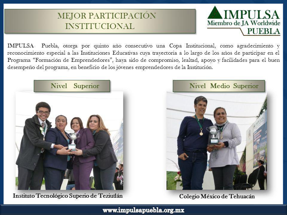 IMPULSA Puebla, otorga por quinto año consecutivo una Copa Institucional, como agradecimiento y reconocimiento especial a las Instituciones Educativas