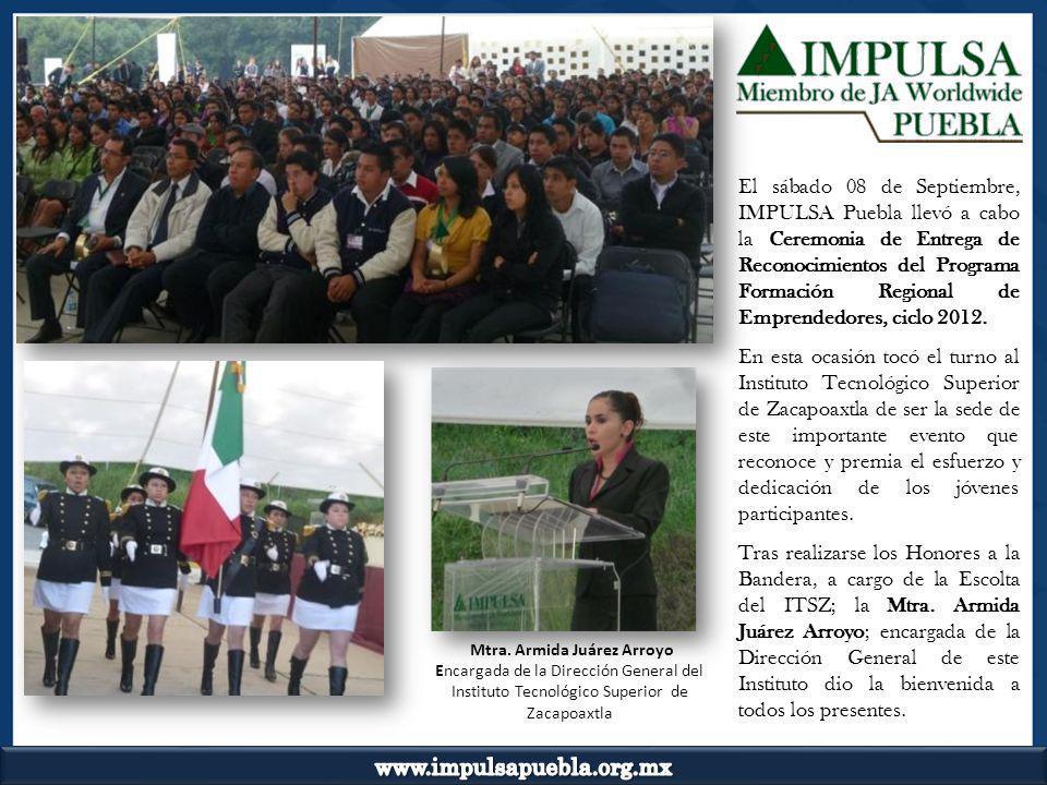 El sábado 08 de Septiembre, IMPULSA Puebla llevó a cabo la Ceremonia de Entrega de Reconocimientos del Programa Formación Regional de Emprendedores, c