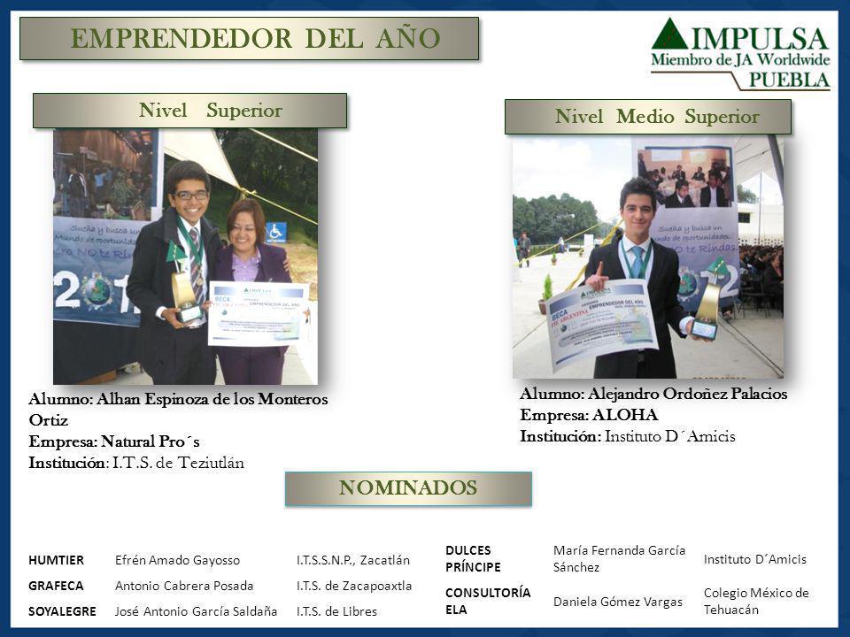 EMPRENDEDOR DEL AÑO Alumno: Alhan Espinoza de los Monteros Ortiz Empresa: Natural Pro´s Institución: I.T.S. de Teziutlán Alumno: Alejandro Ordoñez Pal