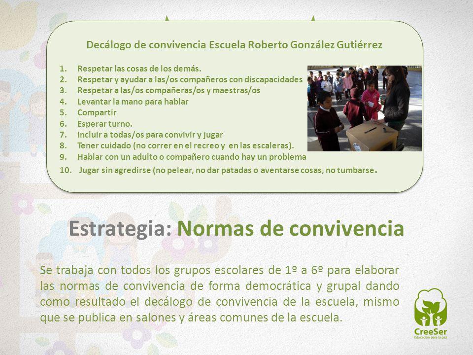 Se trabaja con todos los grupos escolares de 1º a 6º para elaborar las normas de convivencia de forma democrática y grupal dando como resultado el dec