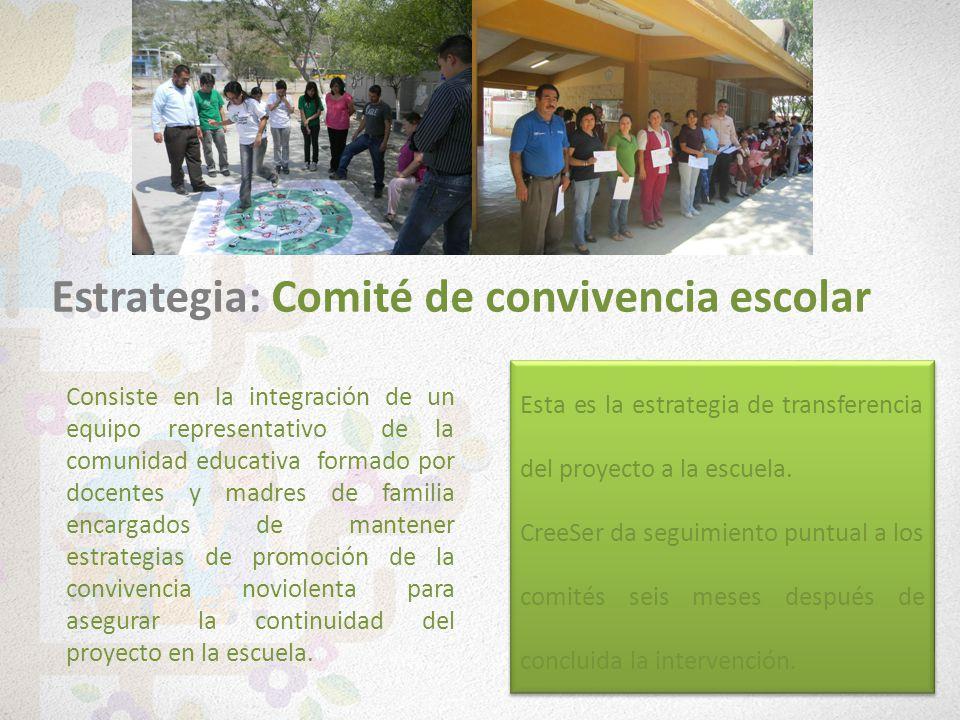 Consiste en la integración de un equipo representativo de la comunidad educativa formado por docentes y madres de familia encargados de mantener estra