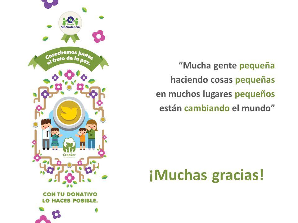 Mucha gente pequeña haciendo cosas pequeñas en muchos lugares pequeños están cambiando el mundo ¡Muchas gracias!