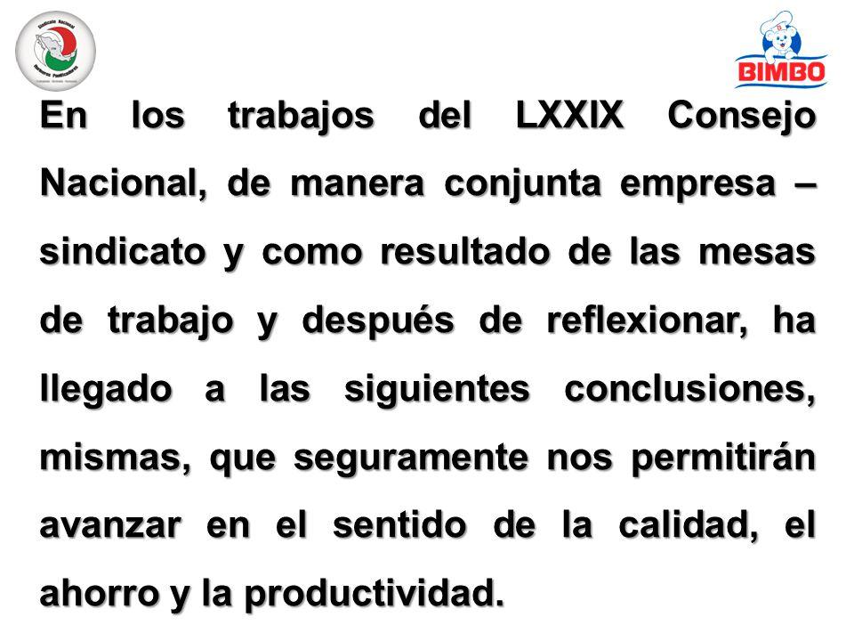 En los trabajos del LXXIX Consejo Nacional, de manera conjunta empresa – sindicato y como resultado de las mesas de trabajo y después de reflexionar, ha llegado a las siguientes conclusiones, mismas, que seguramente nos permitirán avanzar en el sentido de la calidad, el ahorro y la productividad.