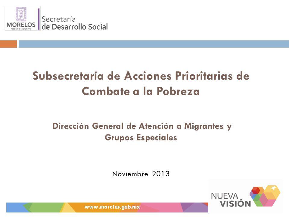Subsecretaría de Acciones Prioritarias de Combate a la Pobreza Dirección General de Atención a Migrantes y Grupos Especiales Noviembre 2013