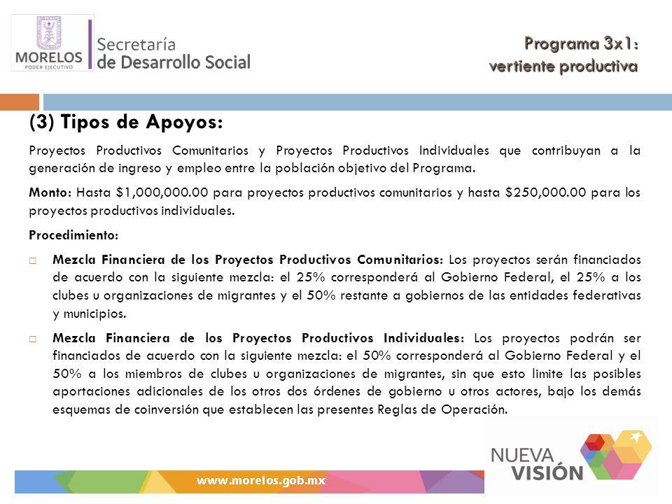Programa 3x1: vertiente productiva (3) Tipos de Apoyos: Proyectos Productivos Comunitarios y Proyectos Productivos Individuales que contribuyan a la generación de ingreso y empleo entre la población objetivo del Programa.