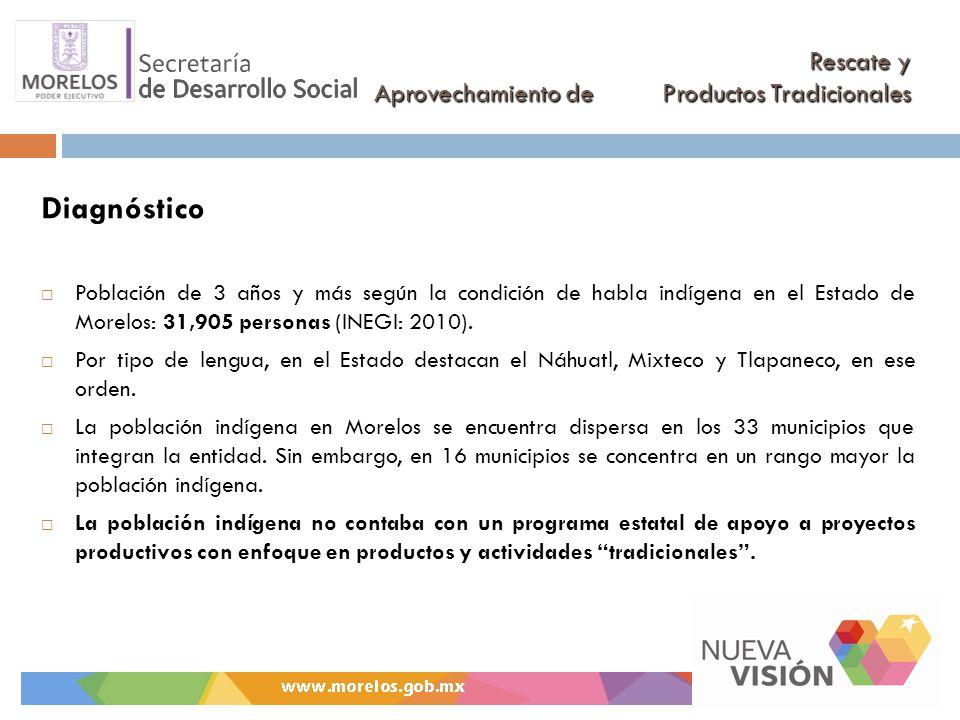 Rescate y Aprovechamiento de Productos Tradicionales Diagnóstico Población de 3 años y más según la condición de habla indígena en el Estado de Morelos: 31,905 personas (INEGI: 2010).