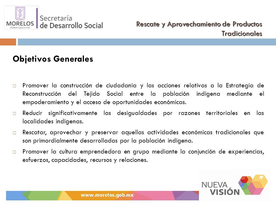 Rescate y Aprovechamiento de Productos Tradicionales Objetivos Generales Promover la construcción de ciudadanía y las acciones relativas a la Estrateg