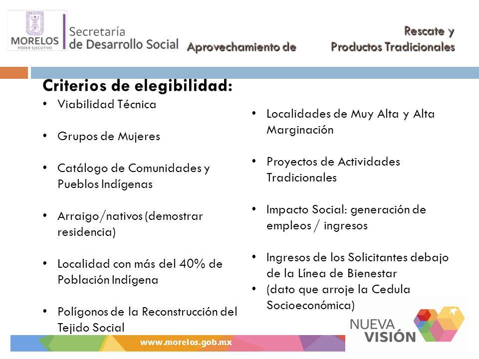 Rescate y Aprovechamiento de Productos Tradicionales Criterios de elegibilidad: Viabilidad Técnica Grupos de Mujeres Catálogo de Comunidades y Pueblos