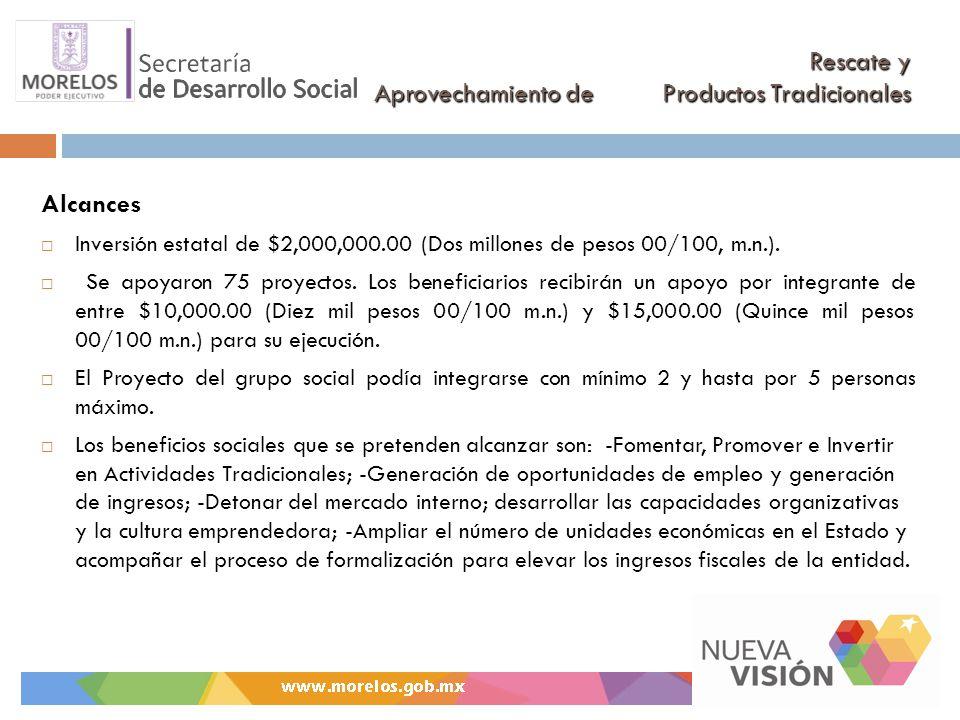 Rescate y Aprovechamiento de Productos Tradicionales Alcances Inversión estatal de $2,000,000.00 (Dos millones de pesos 00/100, m.n.). Se apoyaron 75