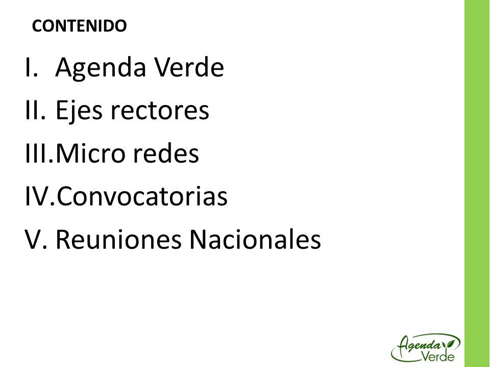 I.Agenda Verde II.Ejes rectores III.Micro redes IV.Convocatorias V.Reuniones Nacionales CONTENIDO